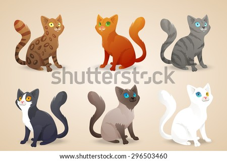 Set of cute cartoon cats with different colored fur and type of coat, breeds. Isolated. Vector illustration - stock vector