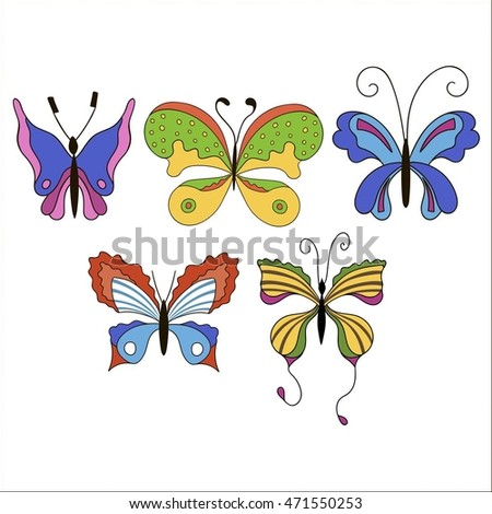 Set of cute cartoon colored butterflies isolated on white background.  Vector illustration. EPS 10.