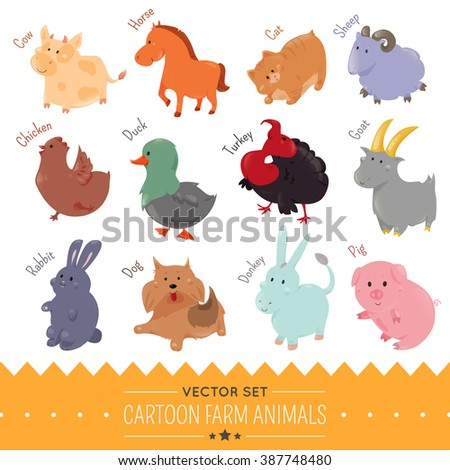 Set of cute cartoon farm animal isolate on white background. Vector agriculture. Funny flat domestic animal icons. Turkey, horse, lamb, donkey, goat, bunny, chicken, duck, sheep, cow, pig, hen, rabbit - stock vector