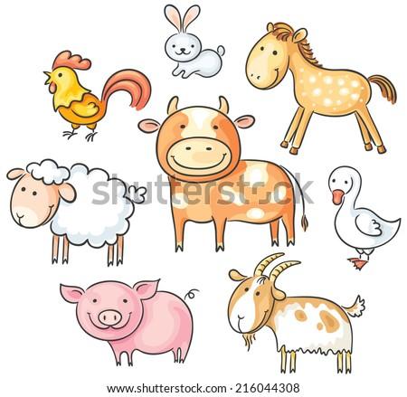 Set of cute cartoon farm animals - stock vector
