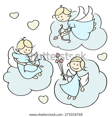 Set of cute cartoon happy cupids flying on clouds with arrows. Angels with bows and hearts.Romantic Illustration of a Valentine's Day. Hand-drawn vector isolated on white. - stock vector