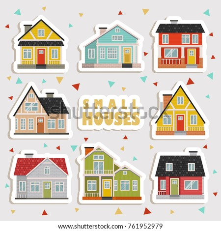 set cute cartoon houses stickers stock vector 2018 761952979 rh shutterstock com images of cartoon houses images of cartoon houses