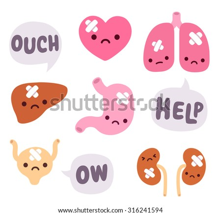 Set of cute cartoon internal organs with sad faces and bandages. Speech bubbles expressing pain. - stock vector