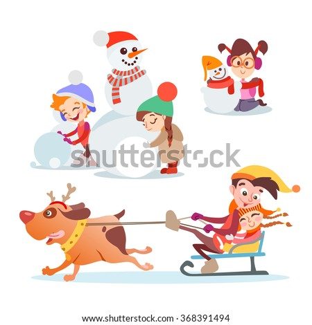 Set of cute cartoon kids,boys and girl playing in winter. Kids making a snowman,playing with snowballs and running with funny dog. Vector illustration set isolated on white background - stock vector