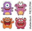 Set of Cute cartoon Monsters - stock photo