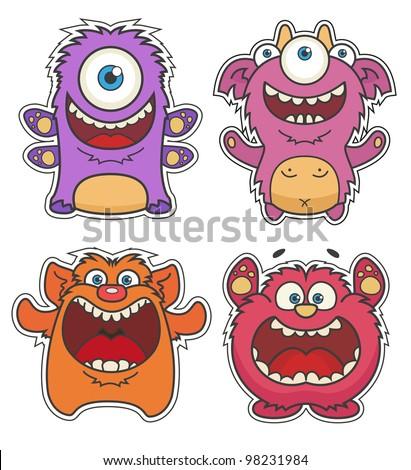 Set of Cute cartoon Monsters - stock vector