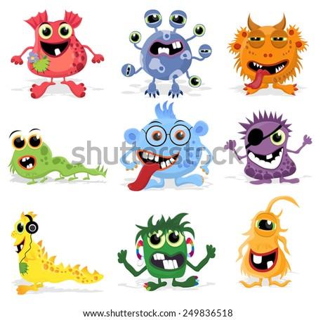 Set of cute cartoon monsters. Vector eps10. - stock vector