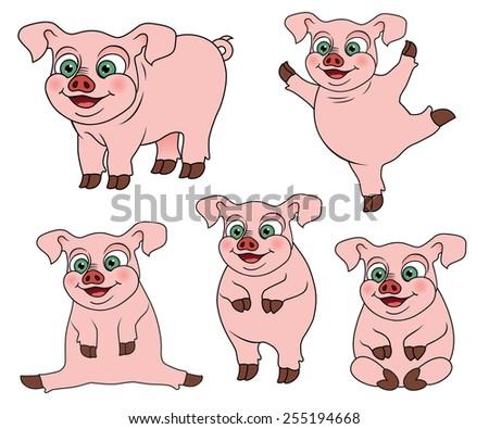 Set of cute cartoon pig, vector illustration. - stock vector