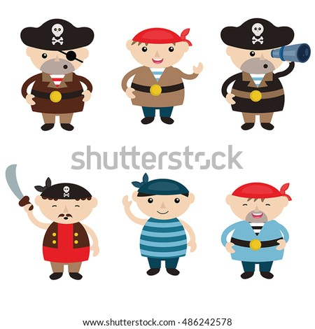 Set of cute cartoon pirates on white background.