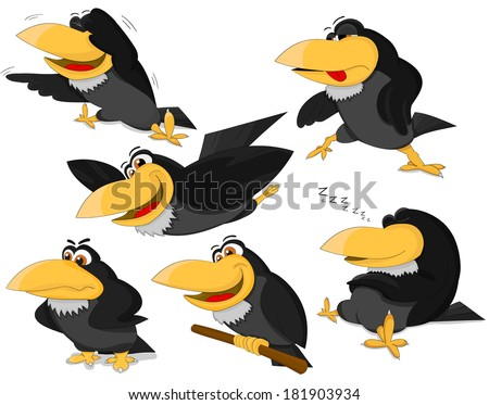 Set of cute cartoon ravens - stock vector