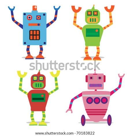 set of 4 cute cartoon robots. vector illustration - stock vector