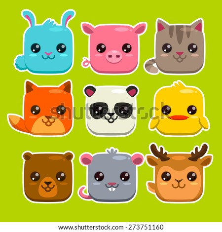 Set of cute cartoon square animals, vector zoo stickers - stock vector