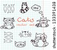 Set of cute cat doodles on squared notebook paper. Vector illustration. - stock vector