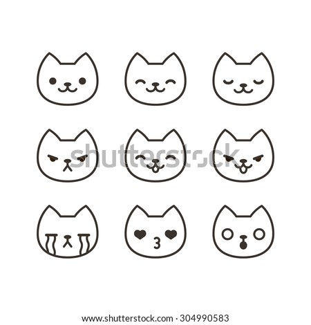 set of cute cat emoticons with different expressions in simple cartoon style - Simple Cartoon Pics