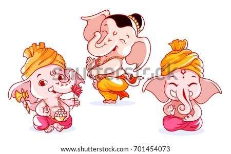 set of cute characters a little baby ganesha with different emotions vector cartoon illustration