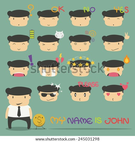 set of cute characters businessman - stock vector