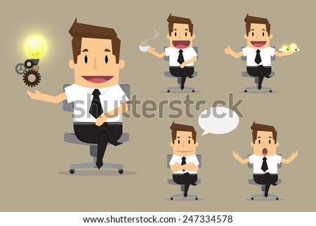 set of cute characters businessman and office worker poses in various.vector - stock vector