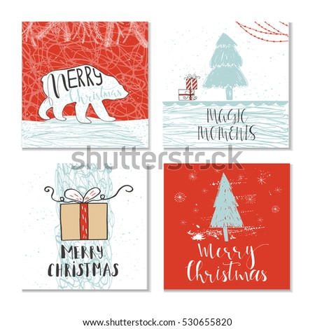 Set 4 cute christmas cards quote stock vector 530655820 shutterstock set of 4 cute christmas cards with quote it is perfect for winter holiday invitations m4hsunfo