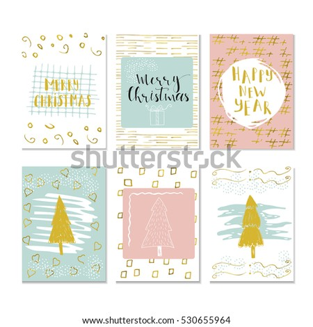 Set of 6 cute Christmas cards with quote. It is perfect for winter holiday invitations, blog banners, fabric print, desktop and phone wallpapers, t-shirts, gift tags, decoupage, scrapbook.