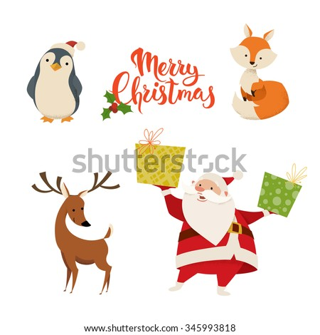 Set of cute Christmas characters.Santa Claus, fox, deer , penguin and Merry Christmas lettering - stock vector