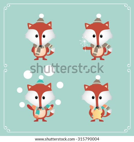 Set of cute Christmas fox. Vector illustration - stock vector