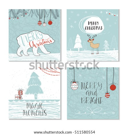 Set of 4 cute Christmas gift cards with quote. It is perfect for winter holiday invitations, blog banners, fabric print, desktop and phone wallpapers, t-shirts, gift tags, decoupage, scrapbooking