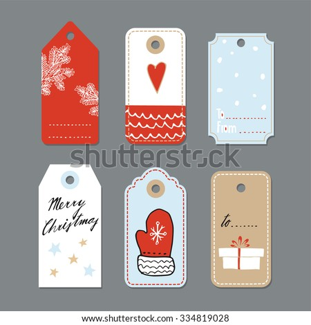Set of cute christmas gift tags, labels, hand drawn illustrations, flat design, isolated vector objects - stock vector
