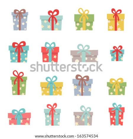 Set of cute Christmas gifts - stock vector