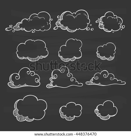 Set of cute clouds using doodle art on chalkboard background - stock vector