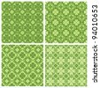 set of 4 cute clovers patterns - stock vector