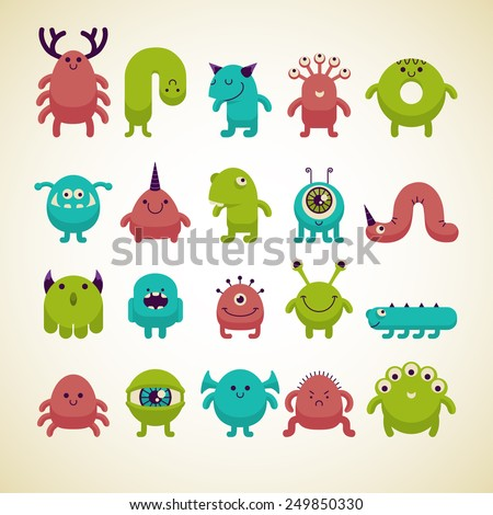 set of cute colorful cartoon monsters - stock vector
