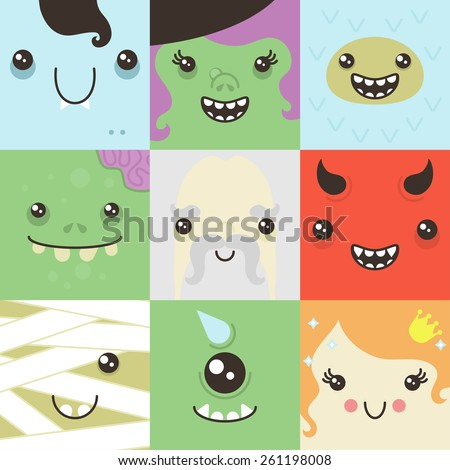 set of cute colorful faces of fictional characters - stock vector