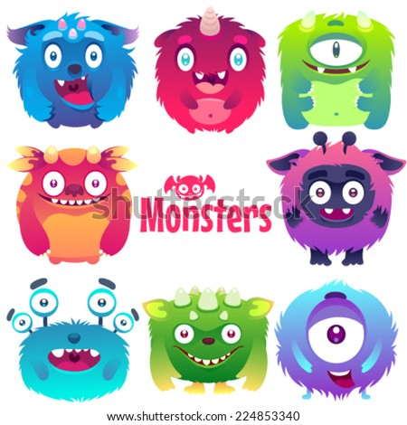 Set of cute colorful flat monsters. - stock vector