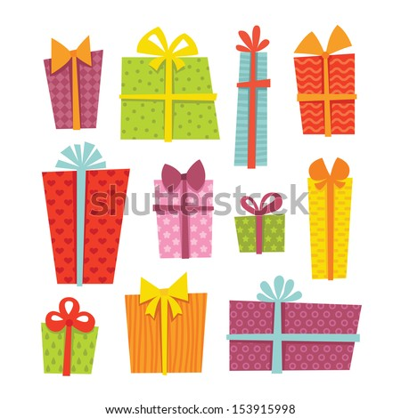 Set of cute colorful gift boxes in vector - stock vector