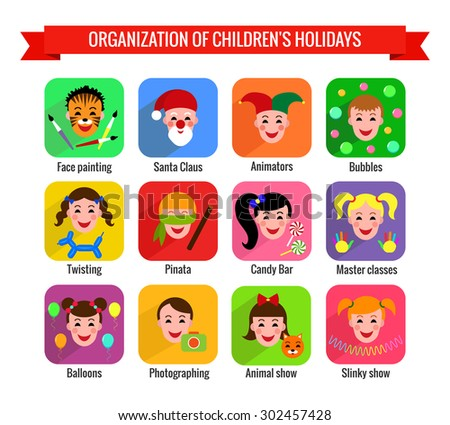 Set of cute colorful icons with kids. Children's entertainments for holidays. Vector illustration.