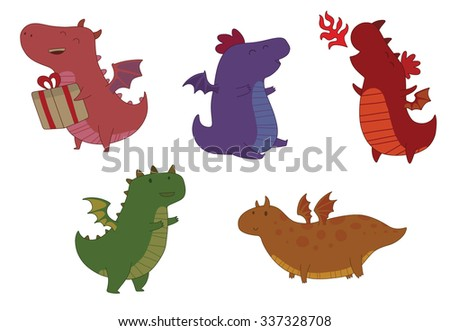 set of cute colorful little dragons with big heads and small wings and legs, vector - stock vector