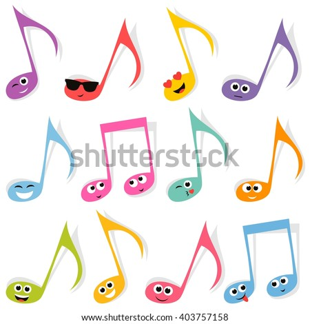 Set of cute colorful note smileys - stock vector