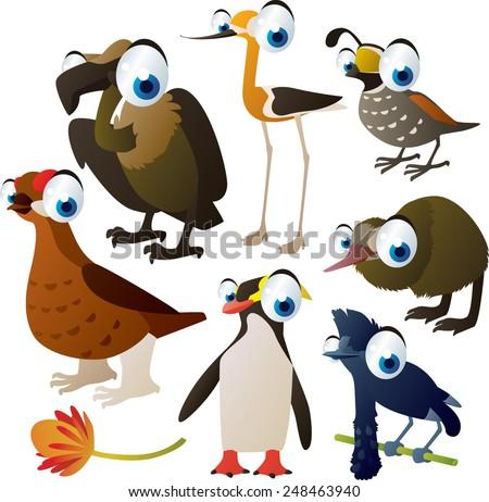 set of cute comic animals: birds: grouse, avocet, kiwi, umbrella bird, quail, penguin and vulture - stock vector