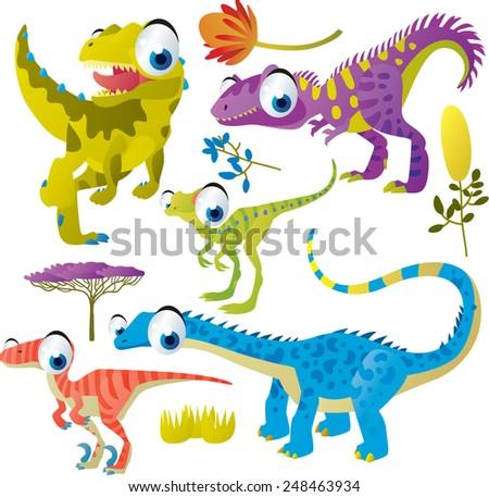 set of cute comic animals: dinosaurs - stock vector