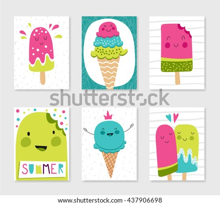 Set of cute creative card templates with ice cream theme design. Hand Drawn. For birthday, anniversary, party invitations. Vector illustration. Pink, green, blue.