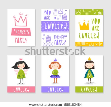 Set cute creative card templates princess stock vector 585122608 set of cute creative card templates with princess theme design hand drawn card for birthday stopboris Image collections