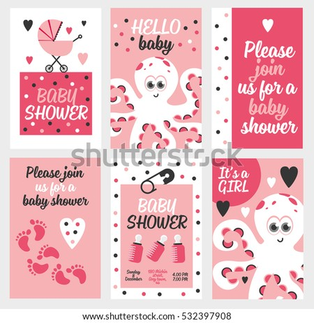 baby scrapbook templates set square greeting cards cute animals stock vector 228300091