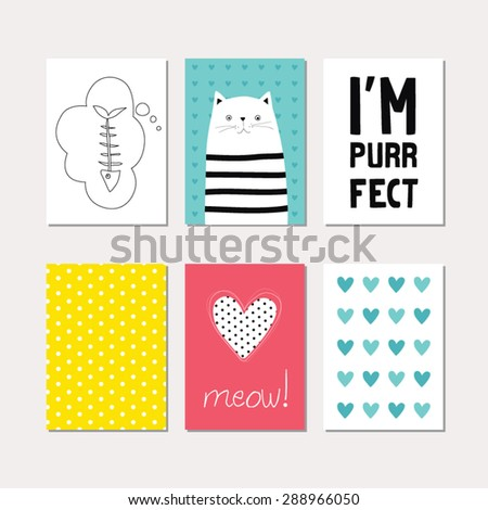 Set of cute creative cards with cat theme design. Vector design templates for greeting / gift cards, flyers, posters, banners, patterns, art decoration etc. - stock vector