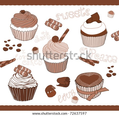 Set of Cute Cupcakes for design - stock vector