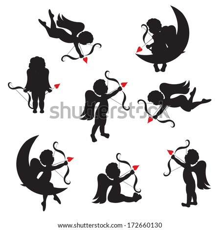 Set of cute cupid silhouettes with  bow and arrows. Vector illustration on white background. - stock vector