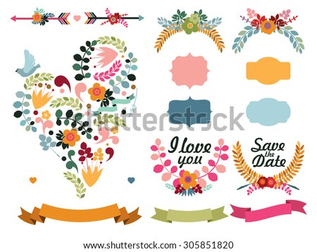 Set of cute decorative elements: floral heart with bird, labels, cupid's arrows, laurel wreaths, ribbons. - stock vector