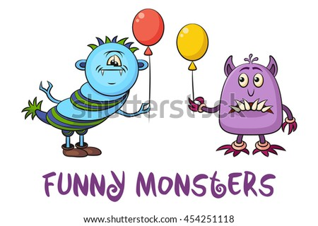 Set of Cute Different Cartoon Monsters, Colorful Characters with Toy Balloon, Elements for your Design, Prints and Banners, Isolated on White Background. Vector - stock vector