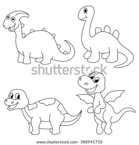Set Of 4 Cute Dinosaur Coloring Page Vector Illustration