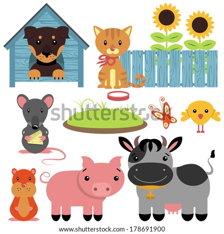 Set of cute domestic animals - stock vector