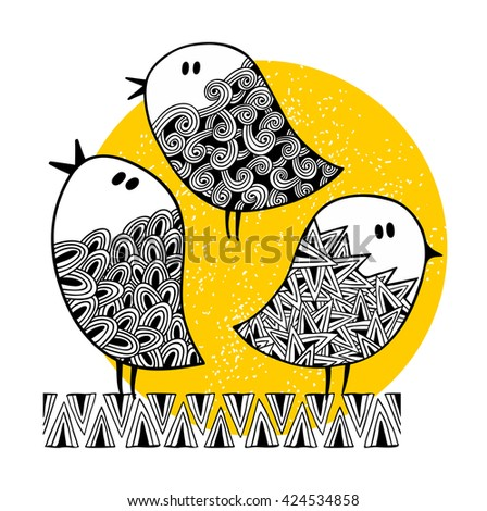 Set of cute doodle birds on the sunny background. Vector illustration. - stock vector